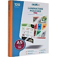 Pochettes de plastification Deskit A5, brillantes, 120 feuilles, 150 microns - Présentations claires et durables…