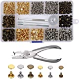 Leather Rivets 240 Set Double Cap Rivet Tubular Metal Studs 2 Sizes with Punch Pliers and 3 Pieces Setting Tool Kit for…