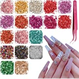 18 kleuren Crushed Glass Onregelmatige Glass Mini Chips, EBANKU Onregelmatige Glitter Glass Grind Edelstenen voor Epoxyhars A
