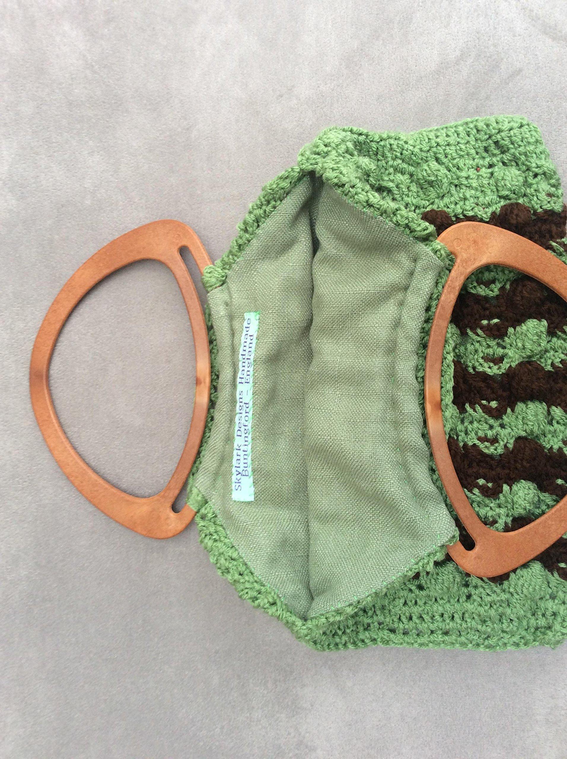 Bobble Stitch Crochet Handbag Lined Green and Brown - handmade-bags