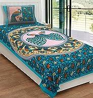RajasthaniKart® Comfort Rajasthani Jaipuri Traditional Sanganeri Print 144 TC 100% Cotton Single Bedsheet with 1 Pillow Cove