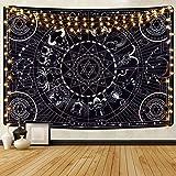 Alishomtll Tapiz de pared con diseño de estrellas, sol, luna, tótem, zodiaco asesino, símbolo de astrología celestial, 150 x