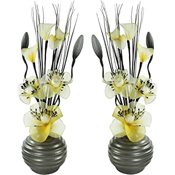 Artificial Flowers In Vase Grey And Mustardyellow Home Accessories