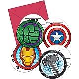 Procos 87970 Invitaciones en sobres con forma (4 sujetos) poderosos Vengadores, 6 piezas, multicolor, talla unica