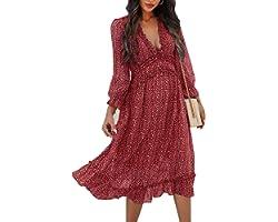 ZIYYOOHY Damen Lange Kleid Chiffon Rüschen mit Tief V-Ausschnitt Blumendruck Sommerkleid Cocktailkleid Partykleid Maxikleid S