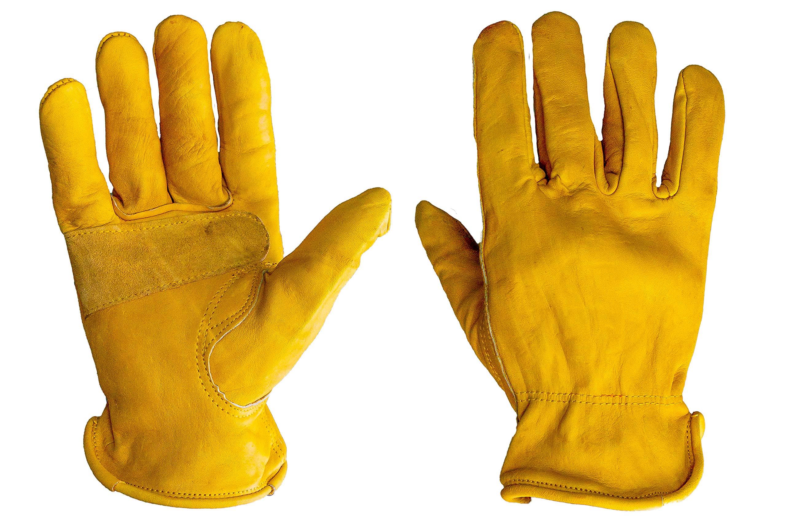 G & F Premium authentique Grain Cuir de vache Gants avec Patch renforcé Palm, 3-pair, jaune, 6203L-3