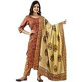 Omask Women's Cotton Regular Wear Straight Printed Kurta Set With Pant And Dupatta