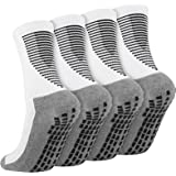 Cooraby 2 Pairs Anti Slip Football Socks NonSlipRubberGripCushionAthletic Socks for Men & Women