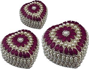 Satz von 3 -Zuhause dekor Schmuck Geschenk-Box - rosa dekorative Aufbewahrungsbox für Schmuck und wertvolle Gegenstände Herzform -7,6 x 7,6 x 4,6 cm