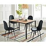 BAÏTA Table à Manger Soho, Bois et métal Noir, L120cm