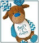 Personalised Names First Christmas 2019 Harlequin Reindeer Teddy Boys Girls Xmas Teddy