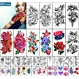 Yazhiji 40 vellen Waterdichte Tijdelijke Tattoos Grote Bloemen Collectie Blijvende Fake Tattoo Stickers voor Vrouwen of Meisj