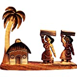 Bankura Traditional Art Center Wooden handicrafts Farmar Showpiece -Table Decoration and Wall Mounted Home Decor Toy for Kids