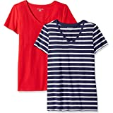 Amazon Essentials Camiseta de manga corta clásico con cuello en V, Mujer, pack de 2