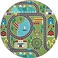 the carpet Happy Life Kindertapijt, speeltapijt, wasbaar, straattapijt, stad, auto, groen, 200 x 200 cm