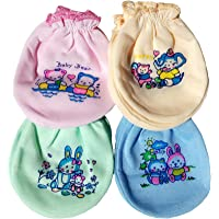 Fancyadda Babys' Cotton Soft Mittens (Multicolour)- Pack of 4