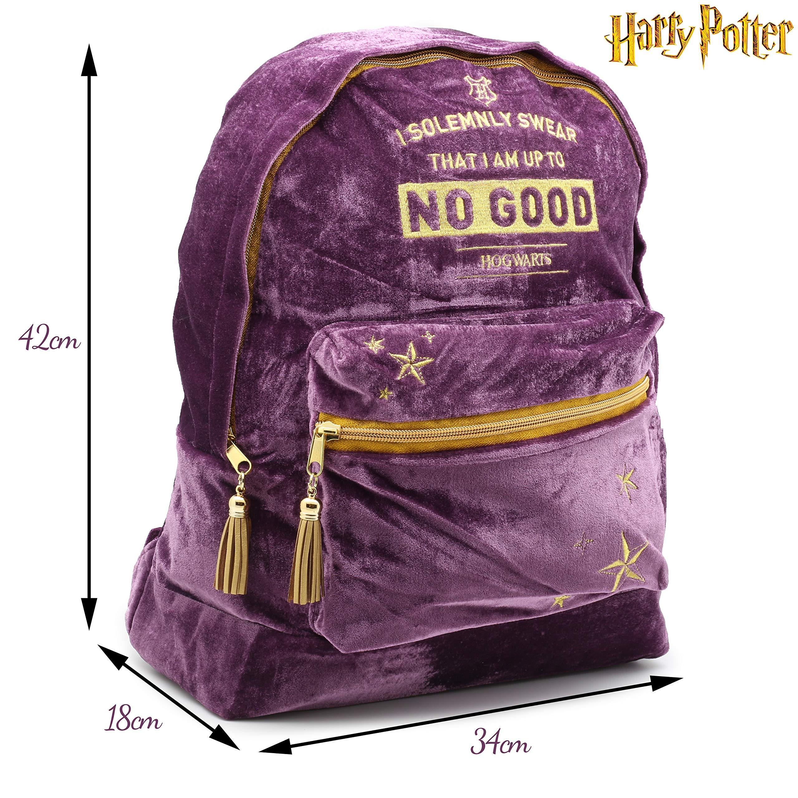 HARRY POTTER Mochila Escolar Grande De Terciopelo Mujer, Producto Oficial | Mapa Con El Diseño Del Mapa De Marauder De Hogwarts Para Chicas | Mochila