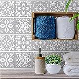 WALPLUS Andalu Wandtegelstickers, 15 cm, 24 stuks, lichtgrijs cement, Spaanse tegelstickers, zelfklevende behang, tegelfolie,