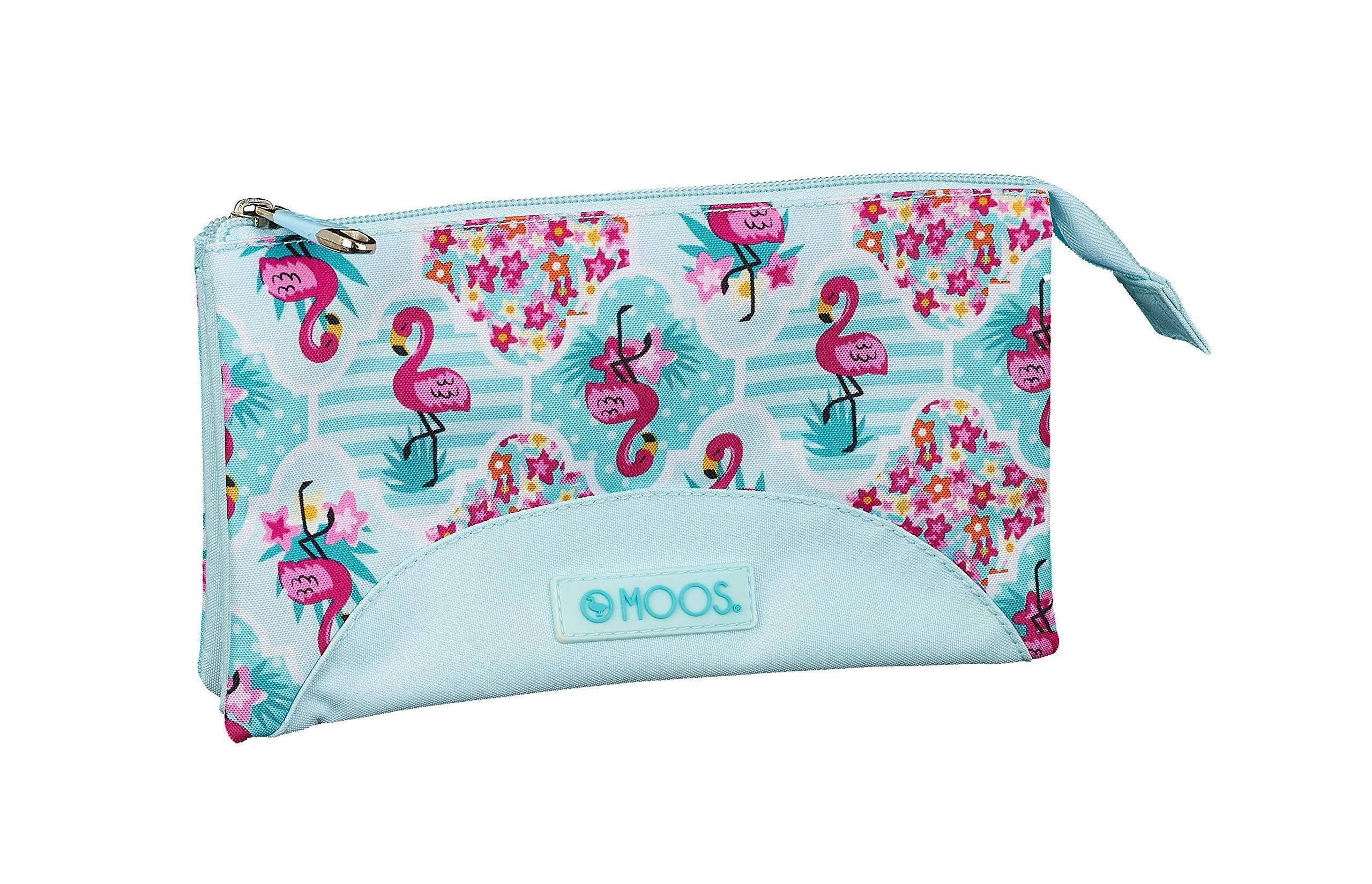 Moos  Flamingo Turquoise Oficial Estuche Escolar 220x30x100mm
