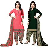 Rajnandini Women's Peach And Dark Green Crepe Printed Unstitched Salwar Suit Material (Combo of 2_Free Size)