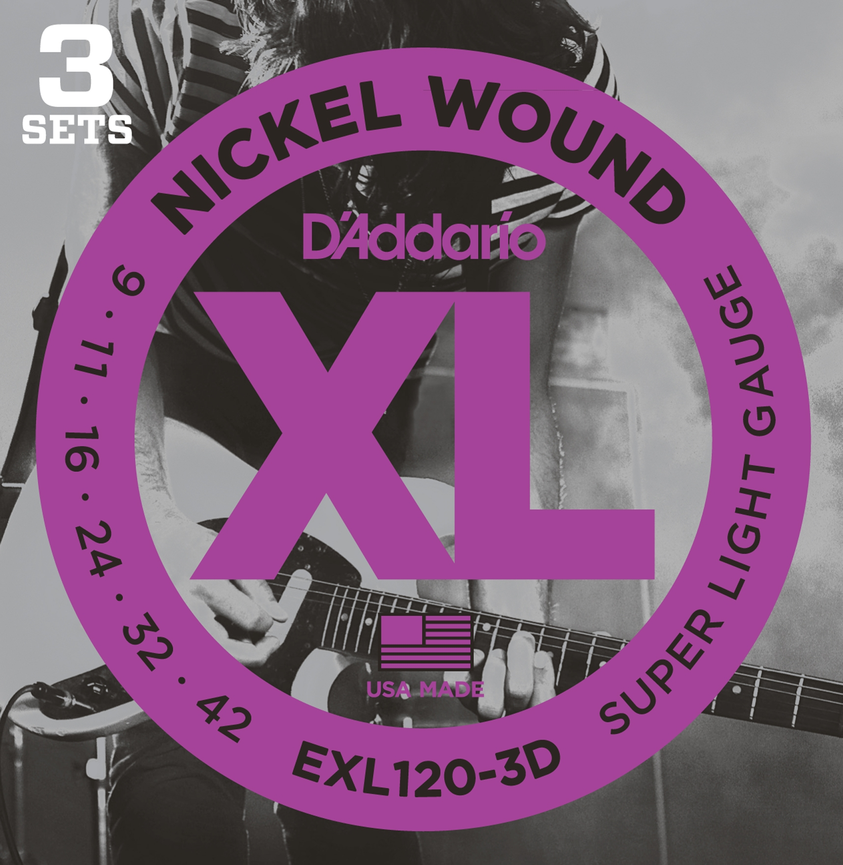 D'Addario EXL120-3D Set di Corde Rivestite in Nickel per Chitarra Elettrica, Super Light, 9-42, Conf
