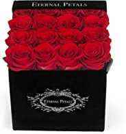100% Real Roses That Last A Year - Black Velvet Box (Red)