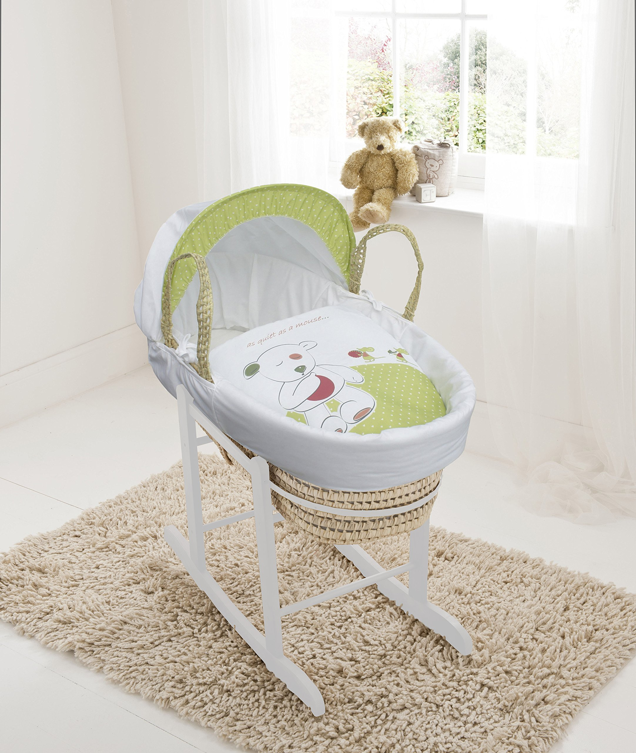 Quiet Little Mouse On Palm Moses Basket & Deluxe White Rocking Stand Elegant Baby Suitable from newborn for up to 9kg, this Moses Basket uses Easy-care Poly Cotton with a soft padding surround Suitable from newborn to 9 months It also includes a comfortable mattress and an adjustable hood perfect to create a cosy sleeping space for your precious little one 1