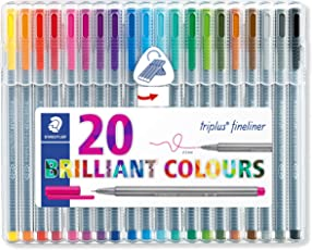 Staedtler Triplus Colour 334 SB20 Fibre Tip Pen Desktop Box, 20 Shades