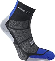 Hilly Men's Twin Skin Anklet Running Socks-Black/Electric Blue/Grey, Large
