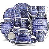 vancasso, Série Mandala, Service de Table en Porcelaine 48 pièces pour 12 Personnes, Assiette Plate, Assiette à Dessert, Bols