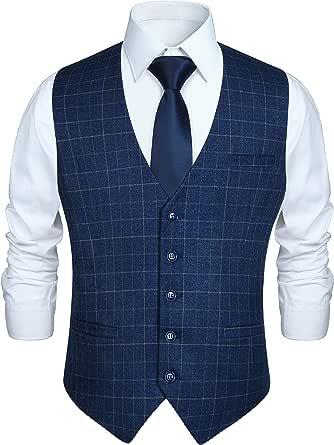 Hisdern Men's Formal Wedding Party Waistcoat Cotton Plaid Dress Suit Vest