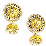 Kiana HandPainted Yellow Meenakari Alloy Jhumka Earring for Women