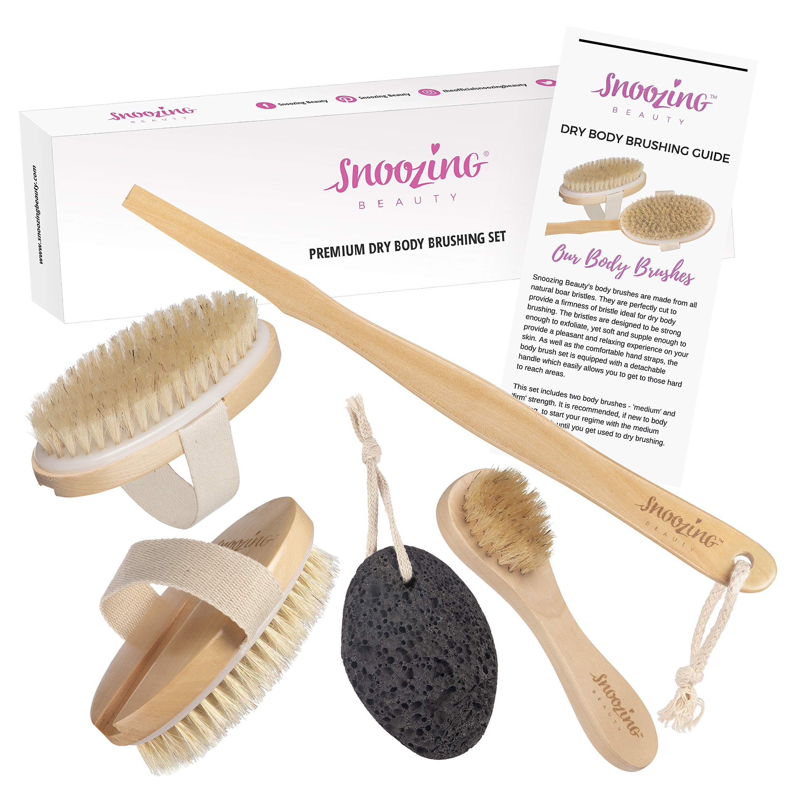 3 x Brush – Dry Body Brushing Set by Snoozing Beauty | SOFT Cleansing Face Brush | MEDIUM and FIRM Body Brushes | Pumice Stone for Dry Skin Foot Care