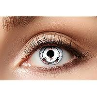 Eyecatcher 84080341-802 - Farbige Kontaktlinsen, 1 Paar, für 12 Monate, Weiß, Karneval, Fasching, Halloween