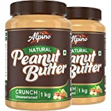 Alpino Natural Peanut Butter Crunch 2 KG | Unsweetened | Made with 100% Roasted Peanuts | 30% Protein | No Added Sugar | No A