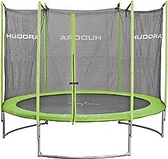 HUDORA Family Trampolin 250-480 cm, grün/schwarz - Garten-Trampolin mit Sicherheitsnetz und Randabdeckung sowie Leiter (bei 400 & 480 cm)