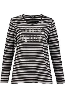 83b9c8b8880 Ulla Popken Femme Grandes Tailles T-Shirt col V rayé et imprimé en Coton  719095