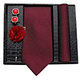 Axlon Men's Polyester Necktie, Pocket Square, Brooch Pin and Cufflinks Combo (Multicolour, Free Size)