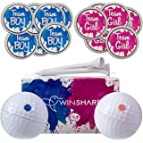 Winsharp Gender Reveal Golf Ball Exploding Golf Ball - كرتين - 1 تي شيرت جولف وردي وأزرق بالإضافة إلى 20 لون وردي و20 ملصقًا