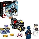LEGO Super Heroes Marvel Scontro tra Captain America e Hydra, Giocattolo Supereroi per Bambini di 4 Anni con Moto Costruibile