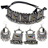 LACUM® Jewellery Oxidised German Silver Traditional Chocker Necklace Set for Women & Girls Silver & Golden (LAC149NOS07)