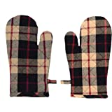 HOME FIBER Cotton Microwave Oven Mitten for Microwave - Set of 2 PCS Oven Glove - Heat Resistant - Black Checked
