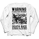 lepni.me Camiseta de Manga Larga para Hombre Carrera de la Muerte: Paseo definitivo, Carreras de Motos, Motorista de cráneo,