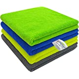 SOFTSPUN Microfiber Cleaning Cloths, 4pcs 40x40cms 340GSM Multi-Colour! Highly Absorbent, Lint and Streak Free, Multi -Purpos