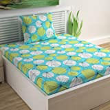 Divine Casa Sense Cotton 104 TC Single Bedsheet with Pillow Cover - Floral, Turquoise Blue