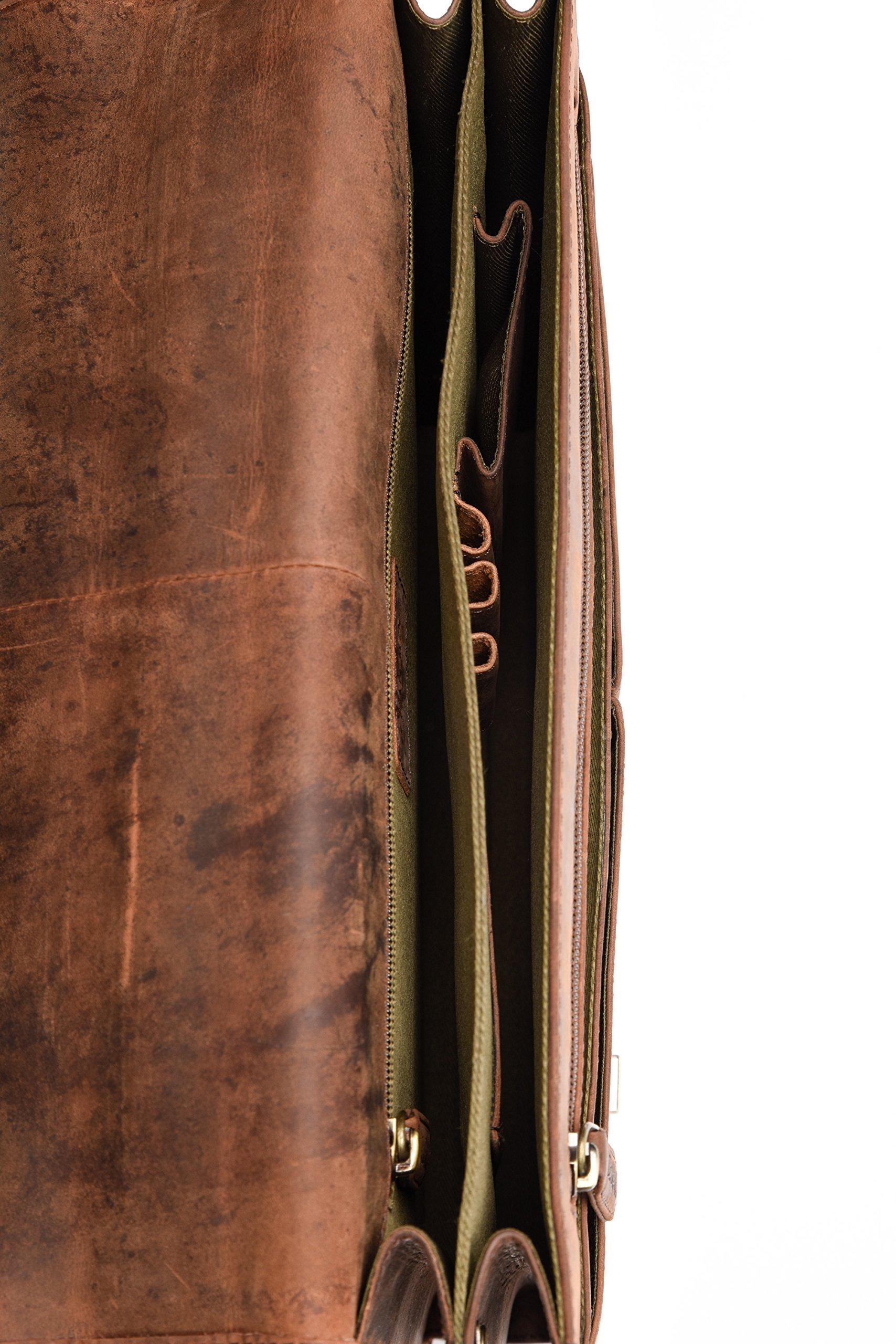 LEABAGS Oakland maletín de auténtico Cuero búfalo en el Estilo Vintage – NuezMoscada