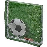 Procos 86869 Servetvoetbal, 20 stuks, afmetingen 33 x 33 cm, monddoek, kinderverjaardag, feestservies, tafeldecoratie