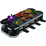 Suntec Wellness RAC-8069 Flex 8 Metal/Stone Raclette, 1400 W, Nero