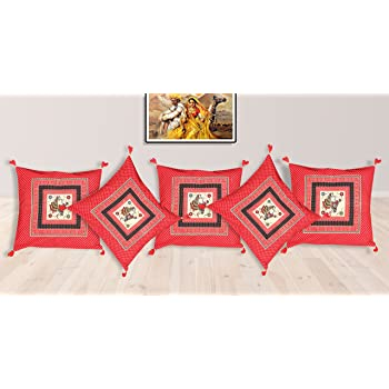 Cushion Covers Red with Green Set of 5 Pcs Pure Cotton Jaipuri Traditional Print Size 16 x 16 Inches