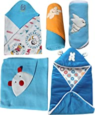 My NewBorn Baby Fleece Blanket (0-3Months, Blue) - Set of 5